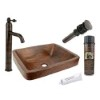This item: Rectangle Skirted Low-Lead Hammered Copper Vessel Bathroom Sink Package