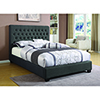 This item: Black Upholstered Eastern King Bed with Tufted Headboard