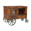 This item: Brown Two-Door-Drawer Bar Cart