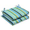 This item: Blue and Green Outdoor Topanga Stripe Lagoon Squared Corners Seat Cushion, Set of 2