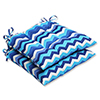 This item: Blue Outdoor Panama Wave Azure Wrought Iron Seat Cushion, Set of 2