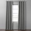 This item: Pebble Grey Italian Textured Faux Linen Hotel Blackout Grommet Curtain Single Panel