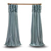 This item: Ruched Light Blue 96 x 50 In. Faux Silk Taffeta Curtain Single Panel