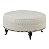 This item: Wellington Pebble Gray Stripe Round Ottoman