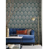 This item: Ronald Redding Handcrafted Naturals Deep Teal and Cream Ottoman Fans Wallpaper