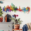This item: New York City Watercolor Skyline Red, Yellow, Green And Blue Peel and Stick Gaint Wall Decal