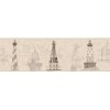 This item: Nautical Living Tan and Grey Architectural Lighthouse Border