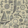 This item: Nautical Living Ecru and Grey Maritime Wallpaper: Sample Swatch Only