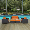 This item: Convene 5 Piece Outdoor Patio Sofa Set in Espresso Orange
