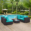 This item: Convene 5 Piece Outdoor Patio Sectional Set in Espresso Turquoise