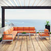 This item: Shore 7 Piece Outdoor Patio Aluminum Sectional Sofa Set in Silver Orange
