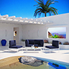 This item: Harmony 5 Piece Outdoor Patio Aluminum Sectional Sofa Set in White Navy