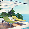 This item: Shore 3 Piece Outdoor Patio Aluminum Chaise with Cushions in Silver Peridot