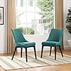 This item: Viscount Dining Side Chair Fabric Set of 2 in Teal