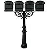 This item: Hanford Black Quad Mailbox Post Mount with Fluted Base