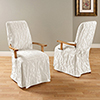 This item: White Matelasse Damask Arm Long Dining Chair Cover