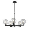 This item: Courcelette Graphite Five-Light Chandelier with Clear Glass