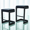 This item: Studio A Regan Graphite and Black Leather Low Barstool