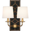 This item: Williamsburg Lightfoot Aged Brass Accents Two-Light Wall Sconce With Fondine Fabric Shades