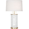 This item: Gloria Modern Brass Two-Light Table Lamp With Oyster Linen Shade