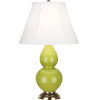 This item: Small Double Gourd Natural Brass One-Light Accent Lamp With Ivory Silk Stretch Shade