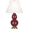 This item: Small Double Gourd Natural Brass One-Light Accent Lamp With Ivory Silk Stretched Fabric Shade