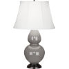 This item: Double Gourd Smoky Taupe Glazed Ceramic One-Light Table Lamp With Ivory Silk Stretched Fabric Shade