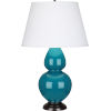 This item: Double Gourd Peacock Glazed Ceramic One-Light Table Lamp With Pearl Dupioni Fabric Shade