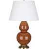 This item: Double Gourd Cinnamon Glazed Ceramic One-Light Table Lamp With Pearl Dupioni Fabric Shade