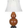 This item: Double Gourd Cinnamon Glazed Ceramic One-Light Table Lamp With Ivory Silk Stretched Fabric Shade