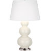 This item: Triple Gourd Silver One-Light Table Lamp With Pearl Dupioni Fabric Shade