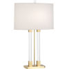 This item: Plexus Modern Brass One-Light Table Lamp With Pearl Dupioni Fabric Shade
