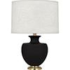 This item: Michael Berman Atlas Matte Dark Coal Glazed Ceramic with Modern Brass Accents 25-Inch One-Light Table Lamp