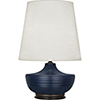 This item: Michael Berman Nolan Matte Midnight Blue Glazed Ceramic and Deep Patina Bronze Accents 28-Inch One-Light Table Lamp