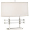 This item: Plexus Polished Nickel Two-Light Table Lamp With Pearl Dupioni Fabric Shade