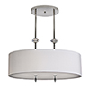 This item: Athens Brushed Nickel Two-Light Pendant with White Silk Dupioni
