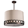 This item: Astoria Polished Nickel Three-Light Medium Base Round Pendant with Ivory Silk Dupioni
