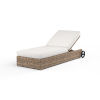 This item: Havana Tobacco Leaf Wicker Adjustable Chaise with Cushion in Canvas Flax