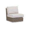 This item: Coronado Driftwood Wicker Armless Club Chair wuth Cushion in Canvas Flax with Self Welt