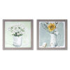 This item: Grey and White Framed Floral Print Wall Decor, Set of 2