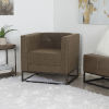 This item: Amina Distressed Brown and Textured Black Square Upholstered Accent Chair