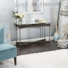 This item: Oliver Textured Dark Brown and Silver X-Frame Console Table