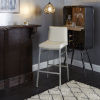 This item: Kairo White and Silver 29-Inch Upholstered Square Barstool