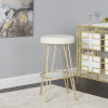 This item: Dilan White and Gold Upholstered Backless Bar Stool