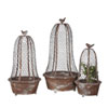 This item: Round Metal Planter with Wire Cloche and Bird, Set of Three