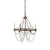 This item: Nadia White Washedwood and Rust Six-Light Chandelier