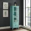 This item: Arya Antique Turquoise Glass Door Cabinet