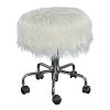 This item: Nora Chrome Faux Fur Stool