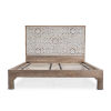 This item: Haveli Natural Mango Wood Geometric Carved King Bed