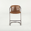 This item: Set of Two Distressed Brown Leather Counter-Height Stools